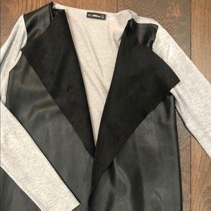 Zara NWOT gray sweater with black leather